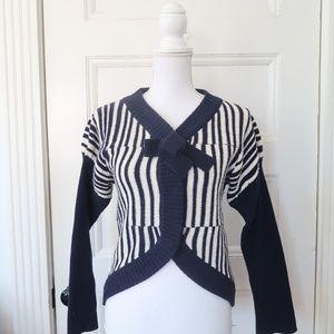 Marc Jacobs Blue White Stripe Wool Cardigan Sweate
